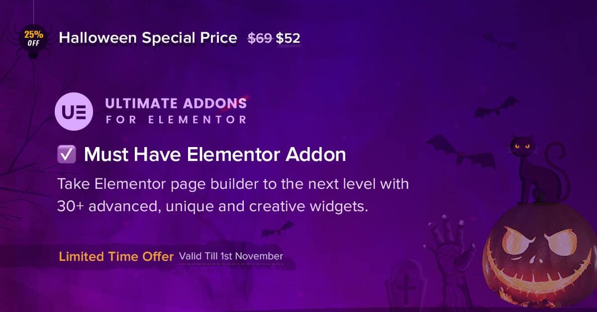 Ultimate Addons for Elementor Halloween Sale: Valid Till 1st November
