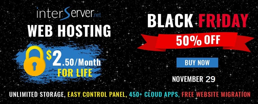 InterServer Black Friday Sale 50% Discount on Hosting