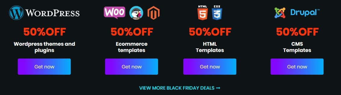 Template Monster Black Friday Sale - 50% Flat Discount