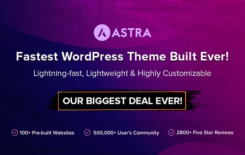 Astra Theme Black Friday Sale 2019 - Get 30% Discount on All Plans & Payment Modes